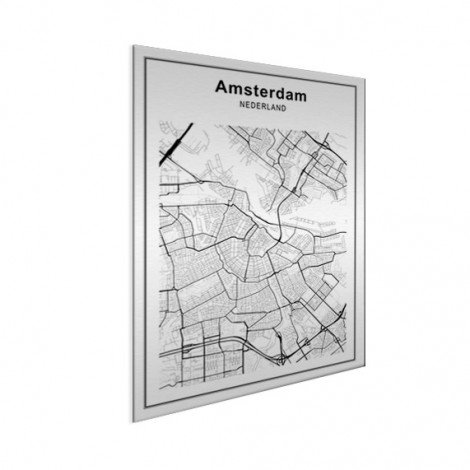 Stadskaart Amsterdam zwart-wit aluminium