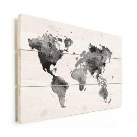 aquarel zwart - wit hout - wereldkaart op hout - wereldkaarten