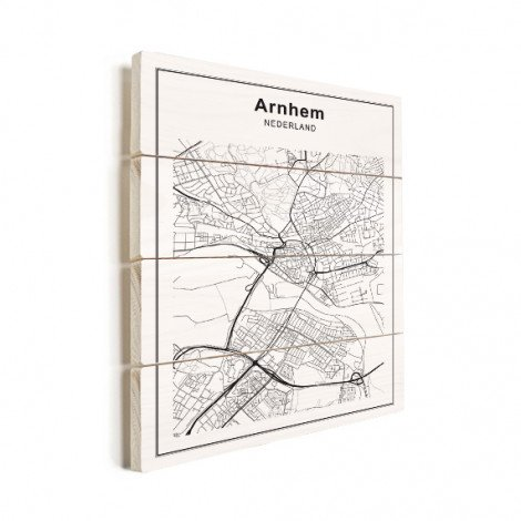 Stadskaart Arnhem zwart-wit hout