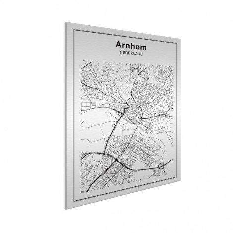 Stadskaart Arnhem zwart-wit aluminium