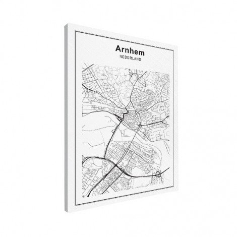 Stadskaart Arnhem zwart-wit canvas