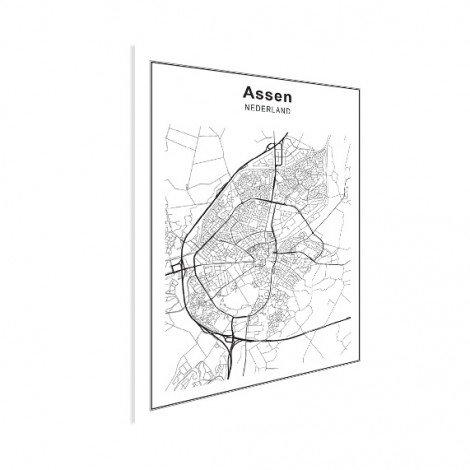 Stadskaart Assen zwart-wit poster