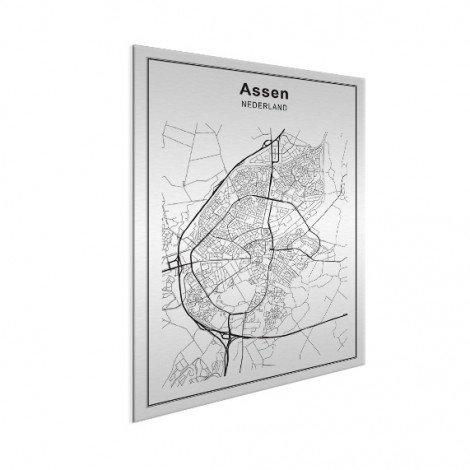 Stadskaart Assen zwart-wit aluminium