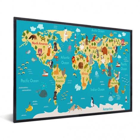 Continenten en zeëen in lijst