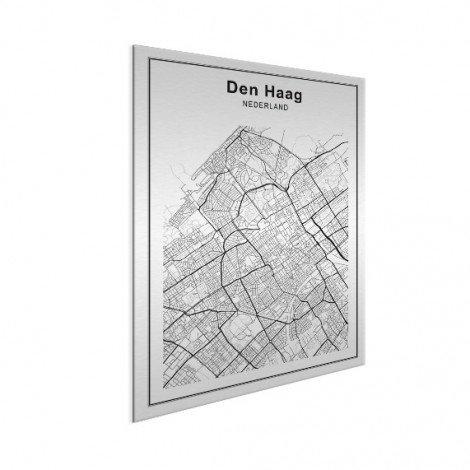 Stadskaart Den Haag zwart-wit aluminium