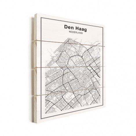 Stadskaart Den Haag zwart-wit hout