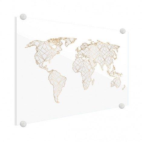 Geometrisch goud-lichtgrijs plexiglas