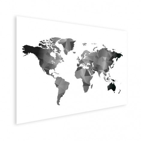 geometrisch - zwart wit poster - wereldkaart op poster - wereldkaarten