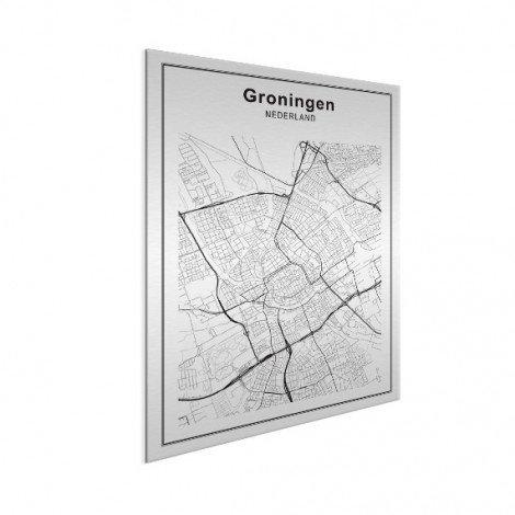 Stadskaart Groningen zwart-wit aluminium