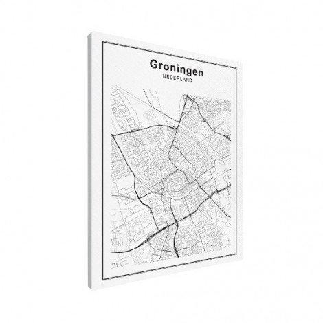 Stadskaart Groningen zwart-wit canvas
