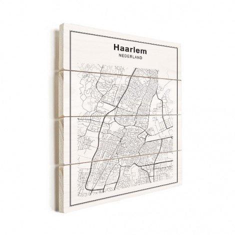 Stadskaart Haarlem zwart-wit hout