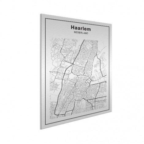 Stadskaart Haarlem zwart-wit aluminium