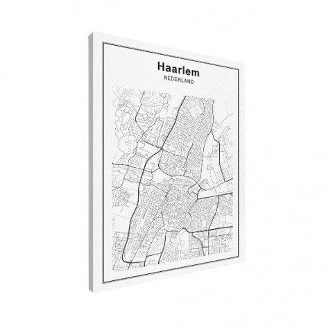 Stadskaart Haarlem zwart-wit canvas