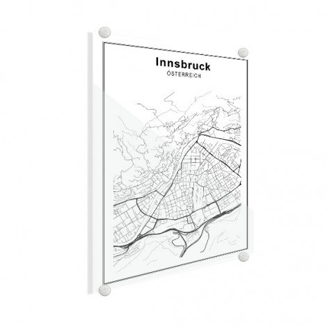 Stadskaart Innsbruck zwart-wit plexiglas
