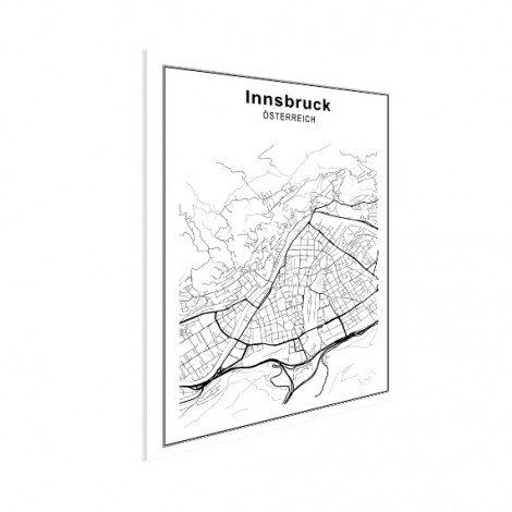 Stadskaart Innsbruck zwart-wit poster