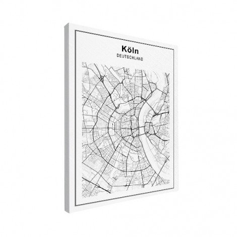 Stadskaart Keulen zwart-wit canvas