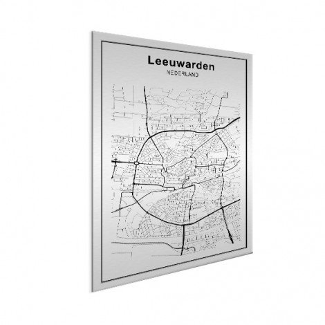 Stadskaart Leeuwarden zwart-wit aluminium