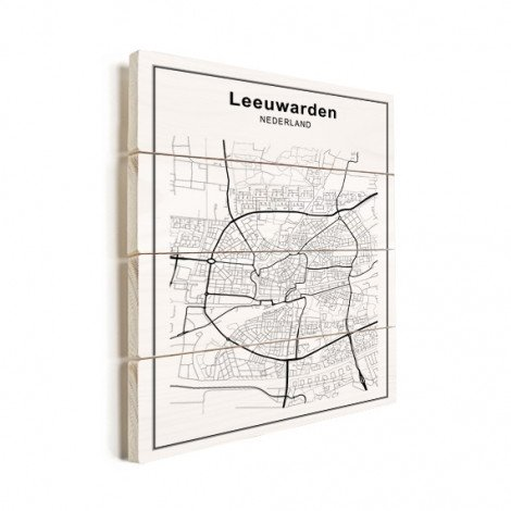 Stadskaart Leeuwarden zwart-wit hout