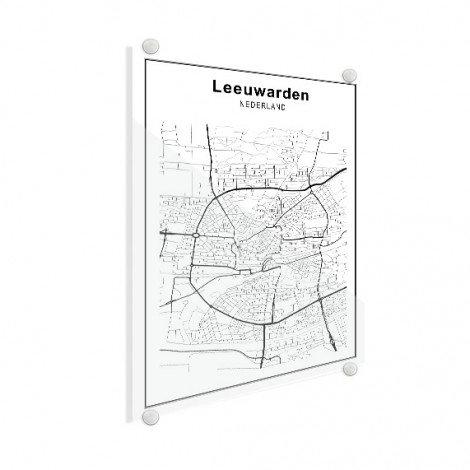 Stadskaart Ljouwert zwart-wit plexiglas