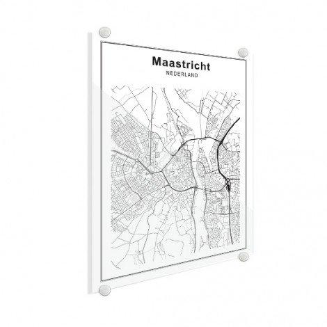 Stadskaart Maastricht zwart-wit plexiglas