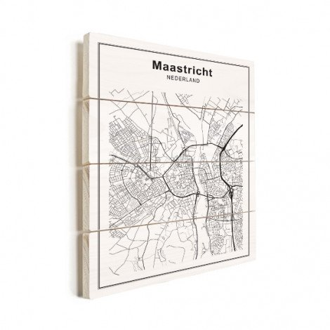 Stadskaart Maastricht zwart-wit hout