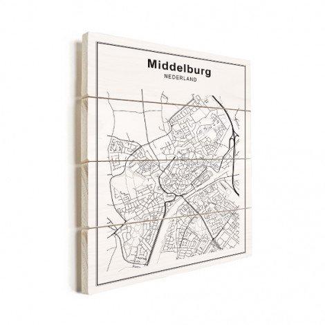 Stadskaart Middelburg zwart-wit hout