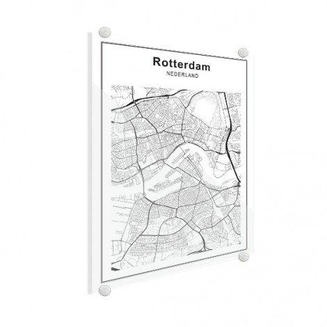 Stadskaart Rotterdam zwart-wit plexiglas