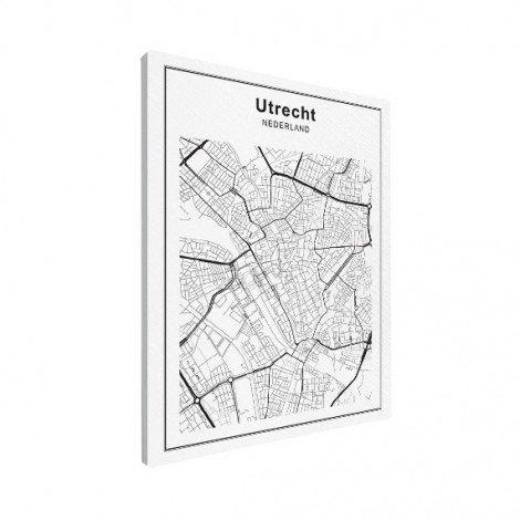 Stadskaart Utrecht zwart-wit canvas