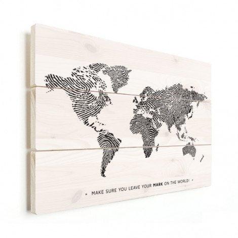 Vingerafdruk - zwart wit met tekst hout