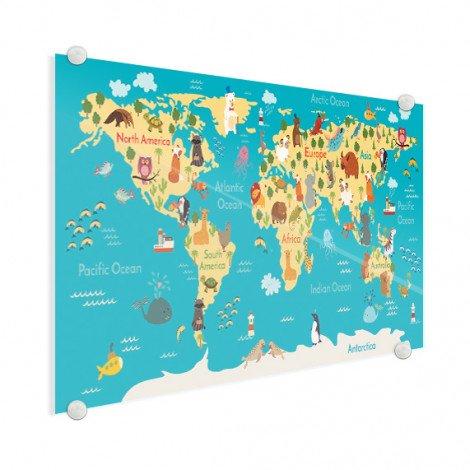 Continenten en zeëen plexiglas
