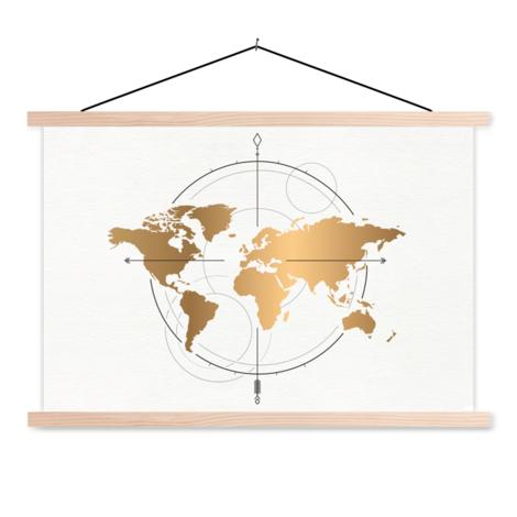 Kompas groot goud schoolplaat