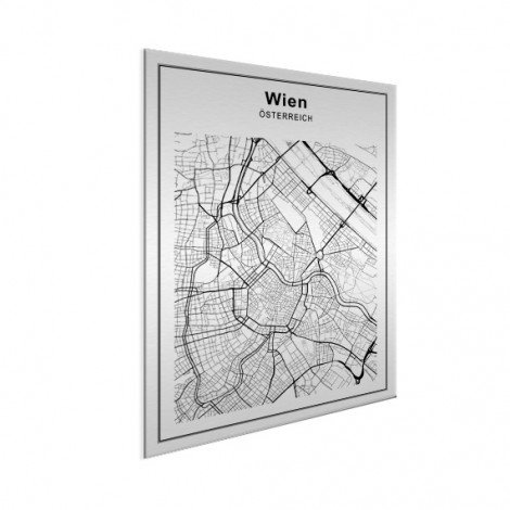 Stadskaart Wenen zwart-wit aluminium