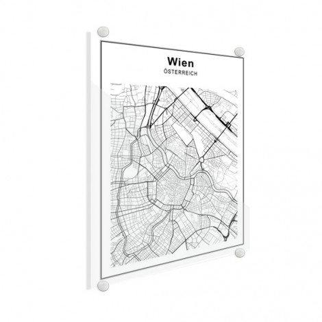 Stadskaart Wenen zwart-wit plexiglas