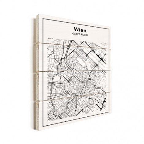 Stadskaart Wenen zwart-wit hout