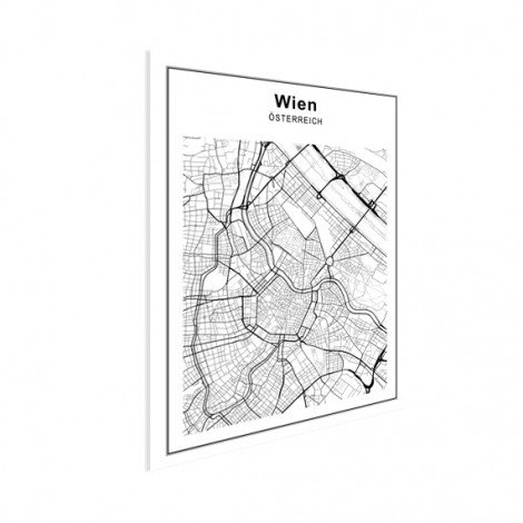 Stadskaart Wenen zwart-wit poster