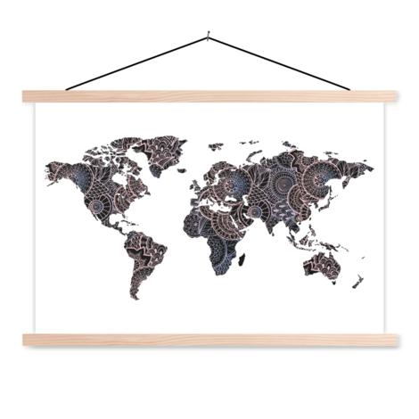 Aziatische print zwart-roze schoolplaat
