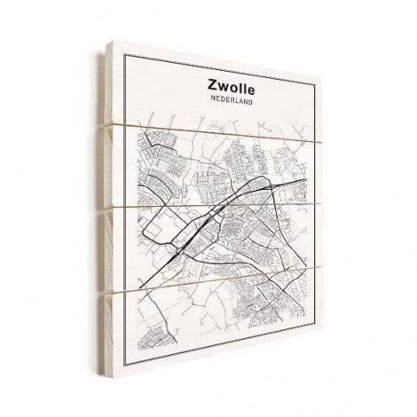 Stadskaart Zwolle zwart-wit hout