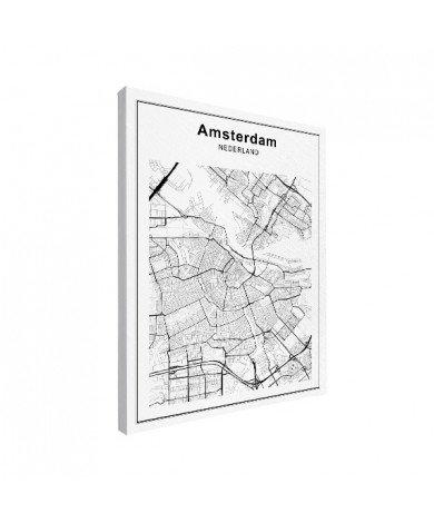 Stadskaart Amsterdam zwart-wit canvas