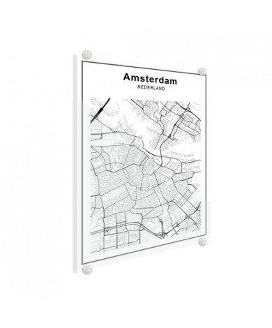 Stadskaart Amsterdam zwart-wit plexiglas
