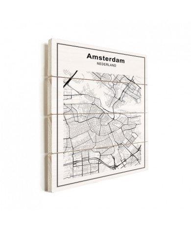 Stadskaart Amsterdam zwart-wit hout