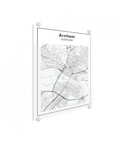 Stadskaart Arnhem zwart-wit plexiglas