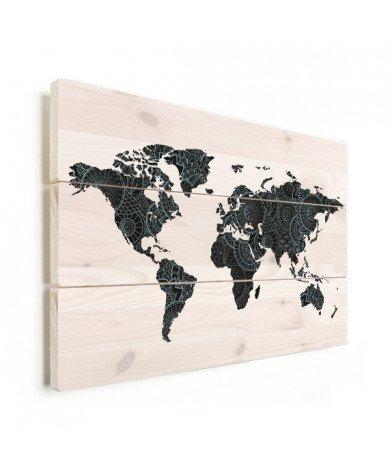 Aziatische print zwart-blauw hout