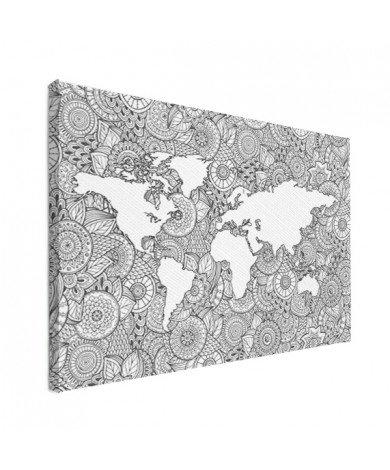 Aziatische print zwart-wit canvas