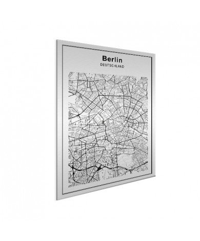 Stadskaart Berlijn zwart-wit aluminium