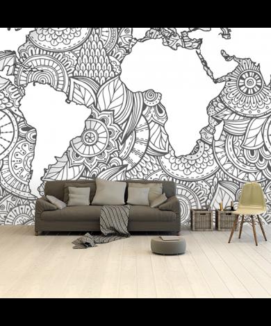 Aziatische print zwart-wit behang