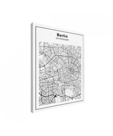 Stadskaart Berlijn zwart-wit canvas