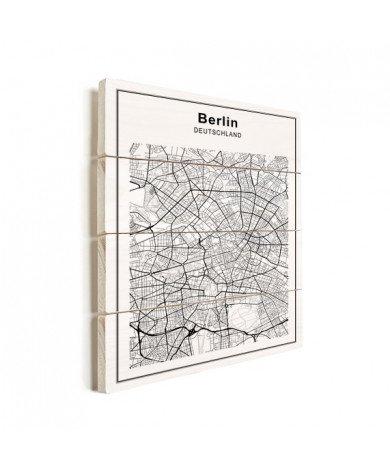 Stadskaart Berlijn zwart-wit hout