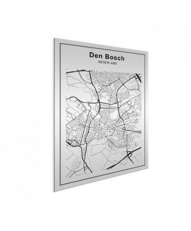 Stadskaart Den Bosch zwart-wit aluminium