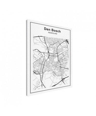Stadskaart Den Bosch zwart-wit canvas