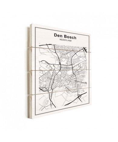Stadskaart Den Bosch zwart-wit hout